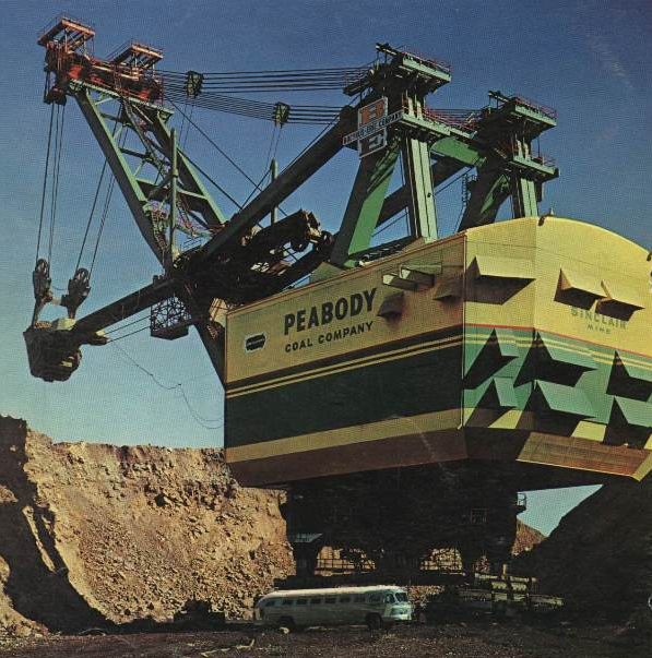 Photo depicts the massive Bucyrus Erie 3850-B Power Shovel, towering over a school bus to demonstrate its size and might.