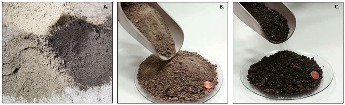 Graphic depicts samples of fly ash, which is light grey, bottom ash, which is brown in color, and boiler slag, which is black and mulch-like in color and consistency.