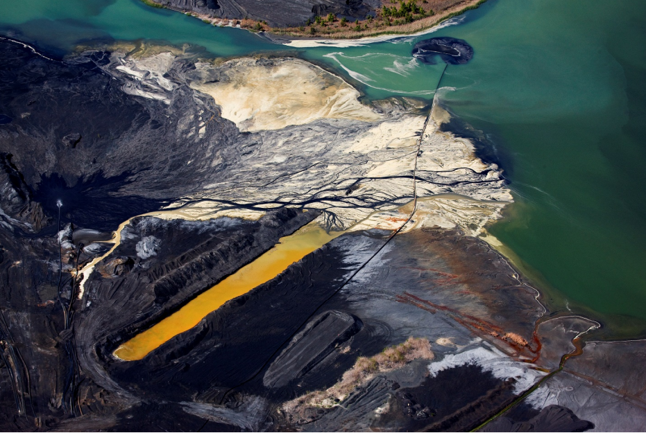 Discolored, polluted water at a coal ash pond