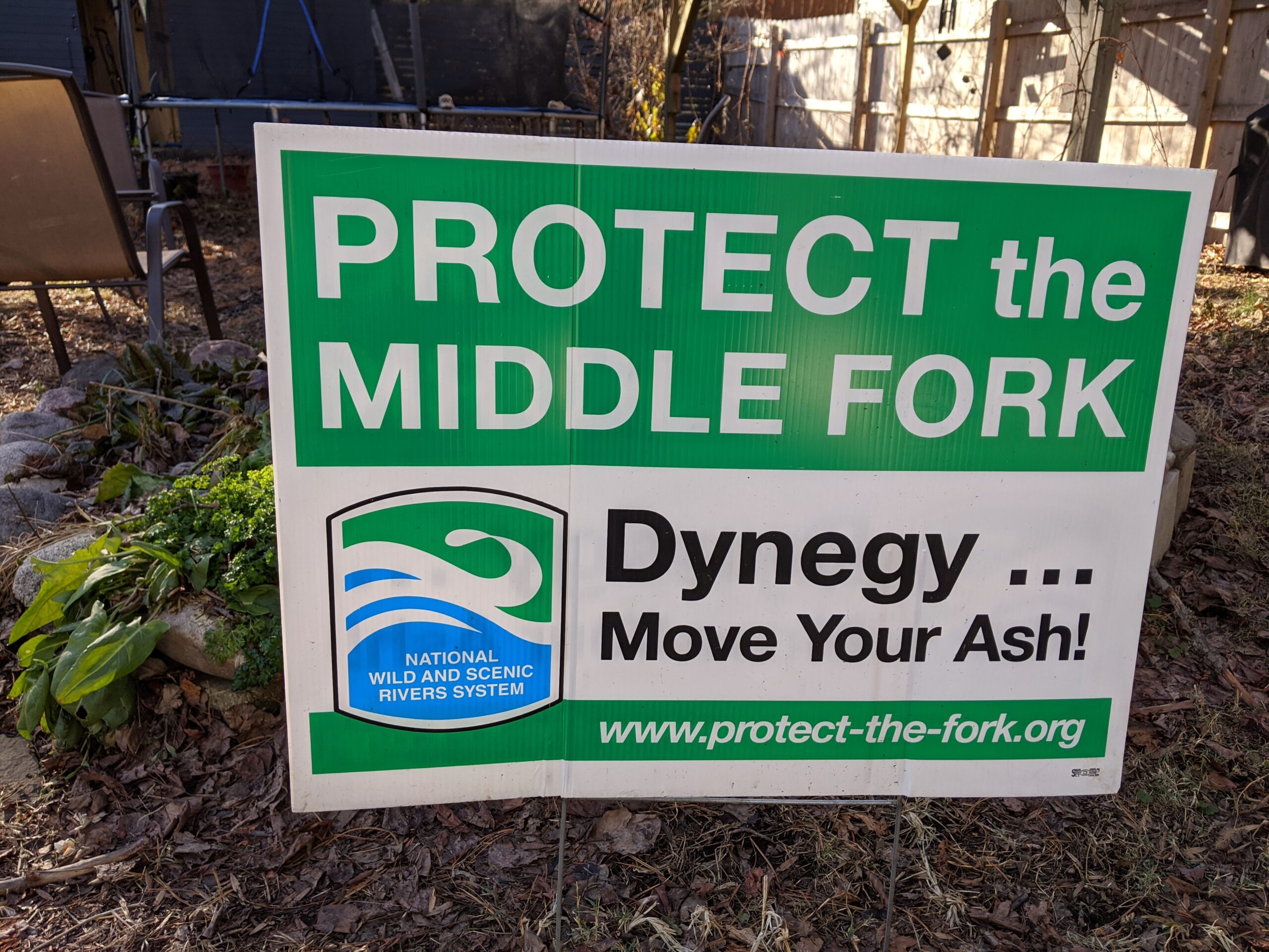 A green and blue yard sign with large lettering reads: Protect the Middle Fork: Dynegy...Move Your Ash!