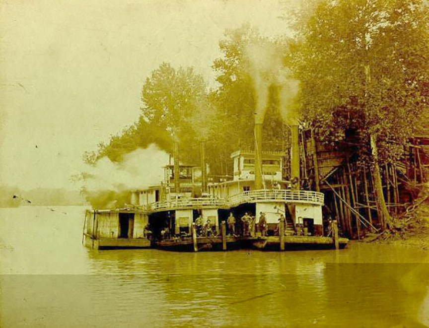 """""""Down by the Green River, where Paradise Lay."""" Photo depicts a riverboat on the Green River c. 1900. Credit: The Ancestors of Robert Stom & Christine (Hilton) Stom"""