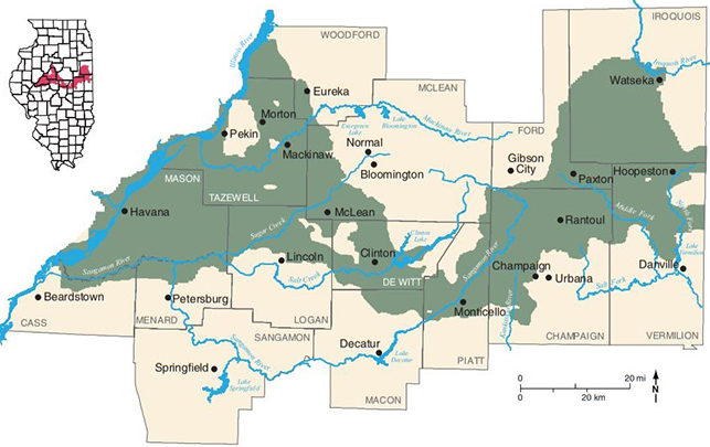 Map of Mahomet Aquifer region within the Middle Fork River watershed basin. Credit: Illinois State Water Survey