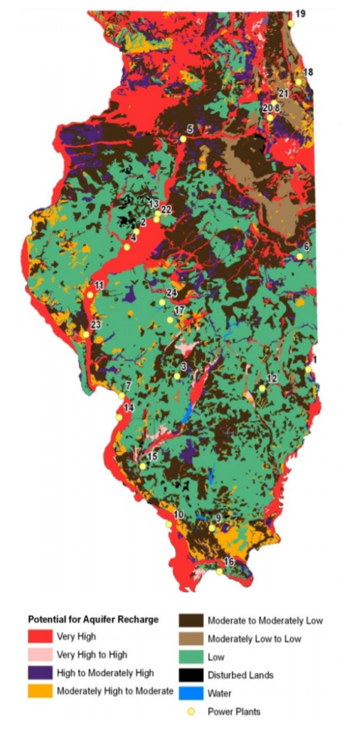 """Graphic depicts the regions of Illinois with a """"very high"""" to """"low"""" potential for aquifer recharge."""